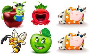 青苹果与毛毛虫等卡通创意矢量素材