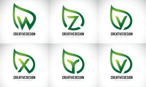 綠葉圖形與字母創意標志矢量素材V01