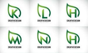 綠葉圖形與字母創意標志矢量素材V02