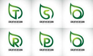 綠葉圖形與字母創意標志矢量素材V03