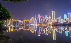 重庆夜景美丽湖泊倒影摄影图片