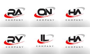 字母组合创意标志设计矢量素材集V07