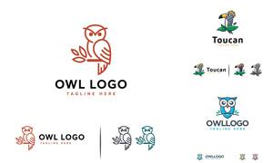 鸚鵡與貓頭鷹圖案標志設計矢量素材