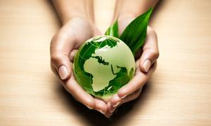 托在手心里的一枚地球创意高清图片