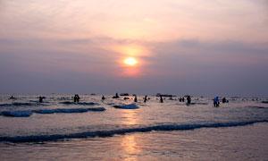 夕阳下的广西北海银滩美景摄影图片