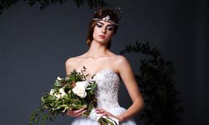 露肩美女人物婚纱写真摄影高清图片