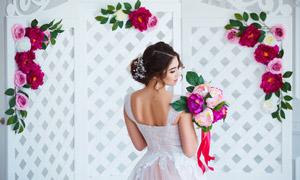 露背盘发造型新娘婚纱摄影高清图片