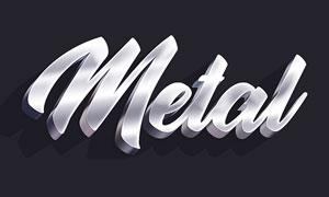 中文版银色金属立体字设计PS动作
