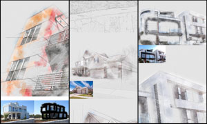 建筑物手绘草图效果PS动作