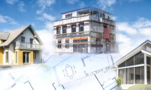 建筑藍圖與房屋模型等創意攝影圖片