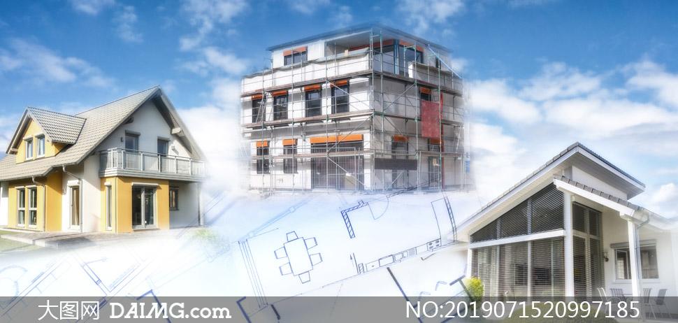 建筑蓝图与房屋模型等创意摄影图片