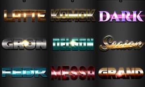10款金屬質感藝術字設計PS樣式V31