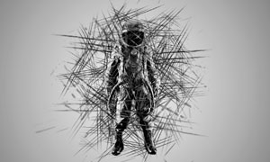 科幻主题杂乱的线条装饰特效PS动作