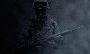 暗色主题战争烟雾背景效果PS动作