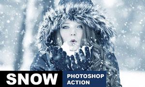 冬季蓝色下雪艺术效果PS动作