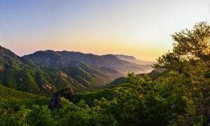 鳳凰山夕陽美景全景圖攝影圖片