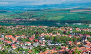 欧洲美丽的村镇景观全景摄影图片
