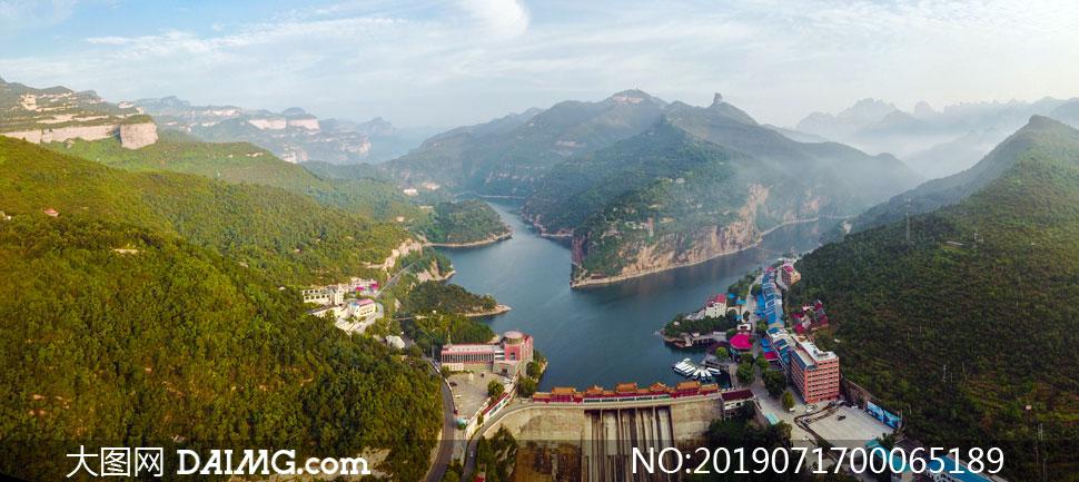 京娘湖大坝美丽风光摄影图片