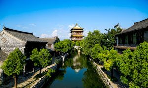 台儿庄古城河道景观摄影图片