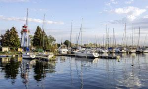 在海边码头停泊的帆船摄影图片