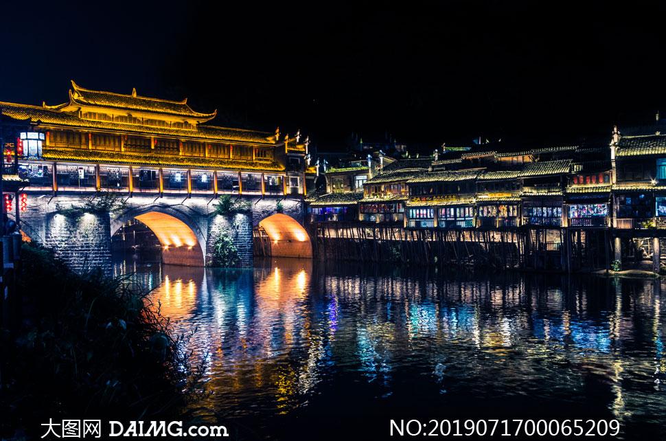 凤凰古城美丽夜景高清摄影图片