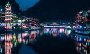 凤凰古城万名塔美丽夜景摄影图片