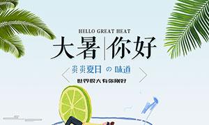 简约风格大暑节气宣传海报PSD素材