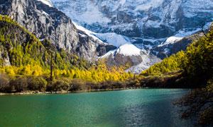雪山山脚下的美丽湖泊摄影图片