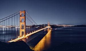 美国金门大桥美丽夜景摄影图片