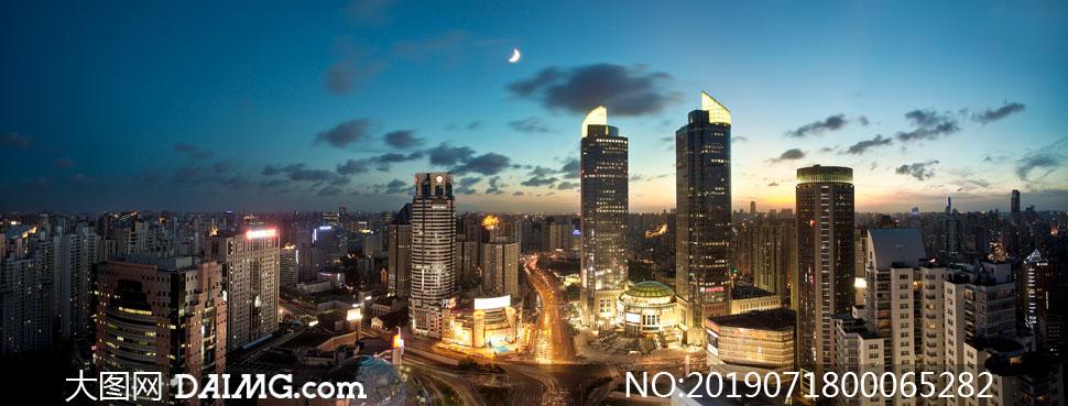 城市高楼大厦美丽夜景摄影图片