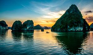 越南下龙湾海景夕阳美景摄影图片