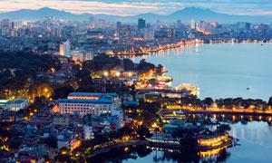 越南海边城市美丽夜景摄影图片