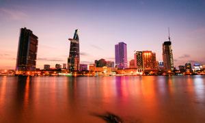 越南海边胡志明市美丽夜景摄影图片