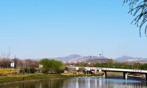 鹿泉美麗的山川田園景觀攝影圖片