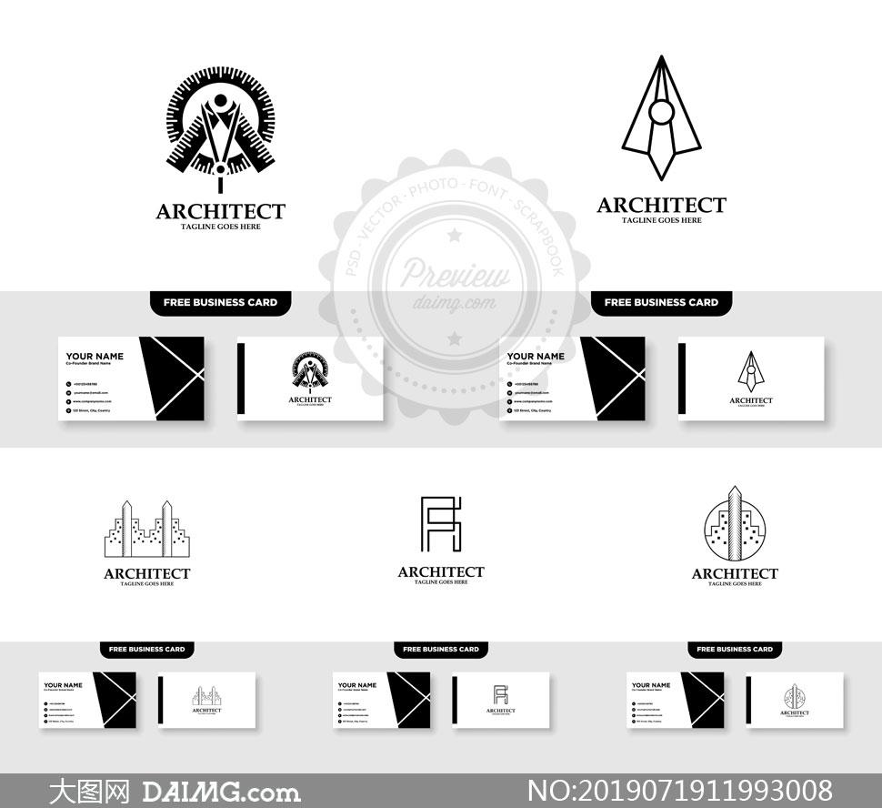 标志及其名片版式设计矢量素材V048