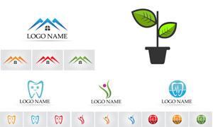 牙齿房屋与绿叶等元素标志矢量素材
