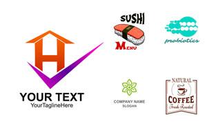 寿司与咖啡等元素标志设计矢量素材
