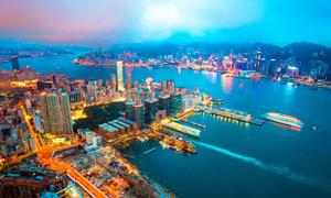 海边城市美丽夜景高清摄影图片