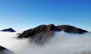 武功山山頂云霧美景攝影圖片