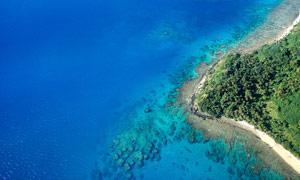 斐济海滩鸟瞰图高清摄影图片