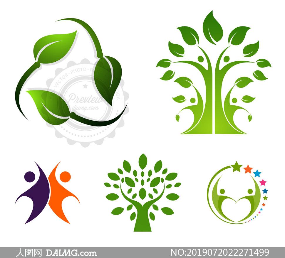 树叶人形元素标志创意设计矢量素材