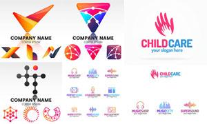 音乐符号与儿童看护等标志矢量素材