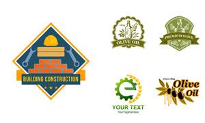 橄榄油与建筑业等标志设计矢量素材