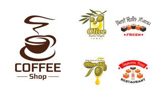 寿司咖啡与橄榄等标志设计矢量素材