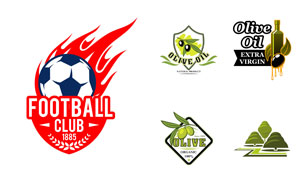 足球俱乐部与橄榄油标志矢量素材