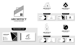 标志及其名片版式设计矢量素材V067