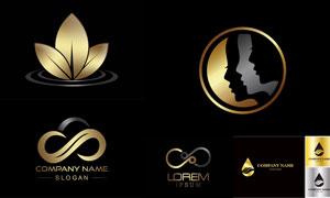 金色尊贵豪华系列标志矢量素材集V02