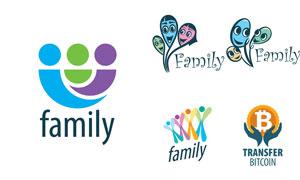 比特币与家庭人物概念标志矢量素材