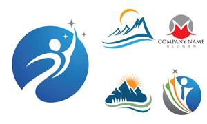 山峰人形元素标志创意设计矢量素材