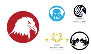 老鹰天鹅与狗狗等元素标志矢量素材